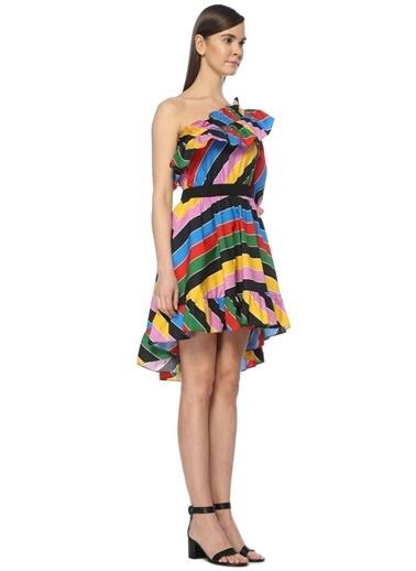 Tek Omzu Açık Çizgili Volanlı Mini Elbise-Philosophy Di Lorenzo Serafini